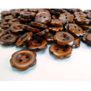 WB11042 - 15mm flower crafted wooden buttons, wood buttons (10 pieces) #craft