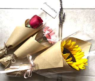 Sunflower / rose / Gerbera daisy fresh flower bouquet real flowers single stalk or three stalks bouquet