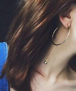 ♥️特價包郵♥️時尚簡約C字形帶珠墜優雅大方復古大圈簡潔耳環耳墜