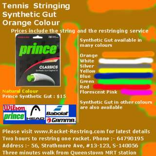 Tennis Stringing - Synthetic Gut - Orange