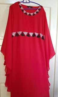 Chiffon Dress (Red with beadings)