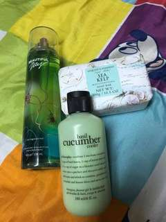 Bath and Body Works  with Asquith & Somerset soap and cucumber cooler by Philosopy Inc