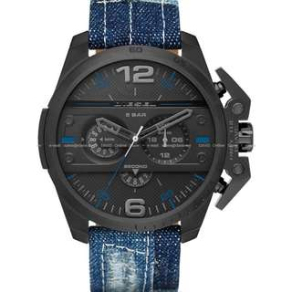 DIESEL DZ4397 Men's Ironside Chronograph Denim Leather Black Blue