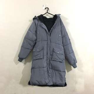 Grey Padded Long Jacket