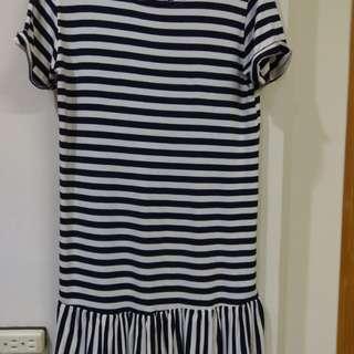 女藍白條紋洋裝韓國製NT490含運