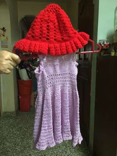 Handmade dress and hat set