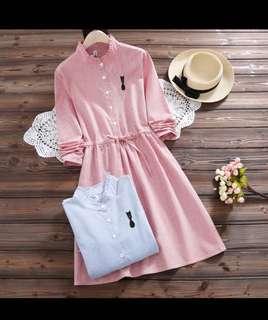 pink button dress