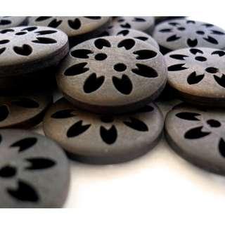 WB10063 - 20mm pierced design wooden buttons, wood buttons (10 pieces)  #craft