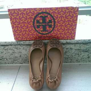 Tory Burch Tumbled Leather Ballerina Flats 5.5 深啡色皮革平底鞋 (Excellent Condition)