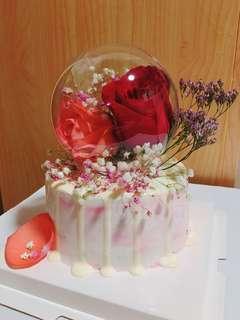 水晶球乾花蛋糕