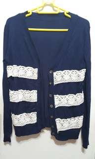 女裝深藍色針織外套