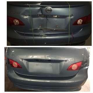 Damages and respray car. Automotive spray