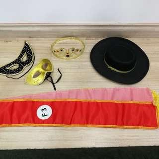 Whole Set of Masquerade Costume Accessories - Satin sash, black hat, gold crown, black mask, gold mask