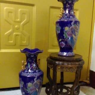 收藏寶藍柏金鳳凰古瓷花瓶一對。未使用。自取價