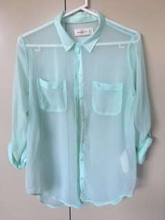 Abercrombie & Fitch sheer mint button blouse