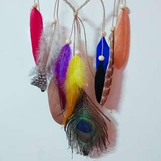 colorful feather headband/headpiece