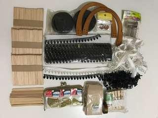 全部100 出清(冰棒木片、包裝牛皮紙袋、裝飾布邊、口金、彈簧、提把、木夾)