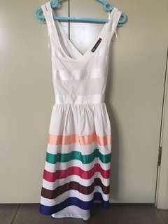 White and stripy cross back beach dress