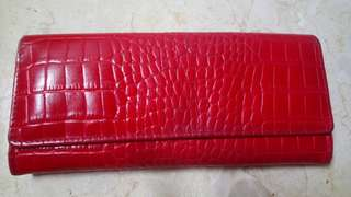 Fino Red Croc Leather Long wallet