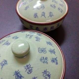 姥爺的雞湯碗一對。超古老民藝。未使用。分享
