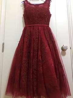 婚後物資 紅色敬酒裙 /pre wedding