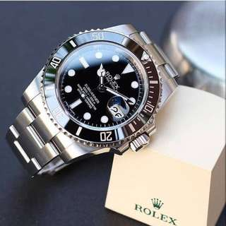 (PO) Rolex Steel Submarine Oyster Perpetual Date Black Dial Automatic Wrist Watch