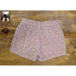 Light Pink, Floral Shorts