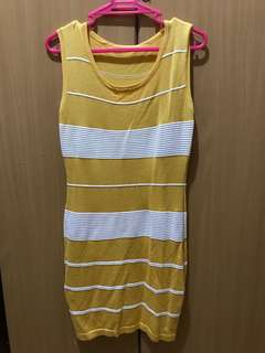 Comfy Yellow & White Dress