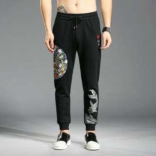 男裝刺繡束腳褲Men's embroidery Ankle-tied pants