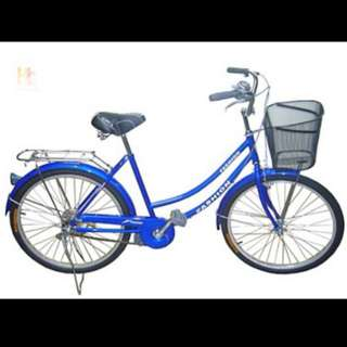 Brand New 24'' Lady city Bike/Bicycle With Back Carrier ,Basket & Cushion seat post  Etc.