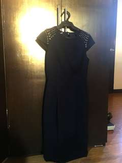 Women's Navy blue fitted Dress (Warehouse)