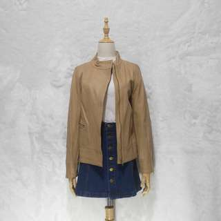 FREE SHIPPING! DRS STUDIO Nude Leather Zip Up Moto Jacket