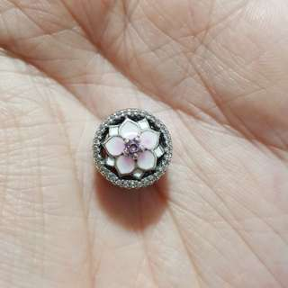 Code SS757 - Pink Flower Openwork 100% 925 Sterling Silver Charm, Chain Is Not Included, Compatible With Pandora