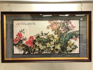精品畫鳥國畫裱立體框