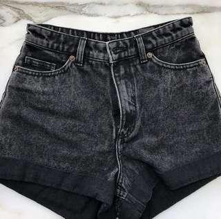 Monki black denim shorts