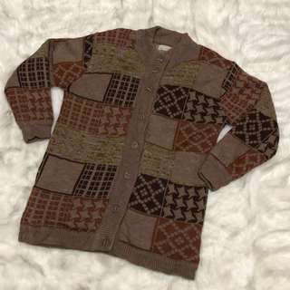 Brown Knitted Long Cardigan