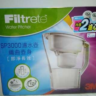 🚚 [3M即淨長效] SP3000濾水壺(1壺2濾心)《纖曲弧線最適合放置冰箱節省空間》
