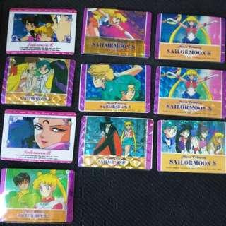 Sailor moon 閃面小貼紙卡共12張