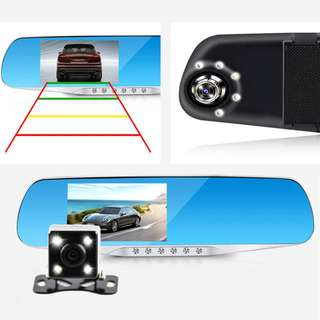 "Car DVR Dash Cam 4.3"" Vehicle Blackbox Mirror Dual Lens Camera Full HD 1080P Rear Parking cam"