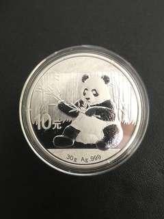 2017 Panda 1oz silver coin capsule