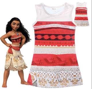 Moana Dress Cartoon Costume for Girls Size 130
