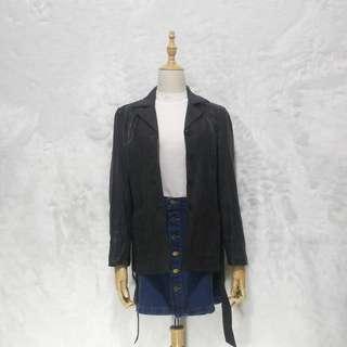 GOLDEN LEAF Black Leather Coat with Belt