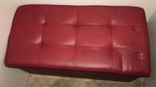 Red Leather Bed End Box