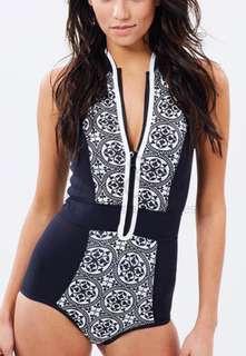 Plus Size Sporty Aztec Two Piece Tankini Swimsuit