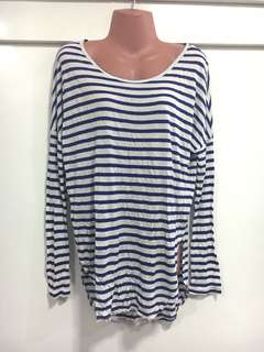 Stretchable Blue and White Blouse