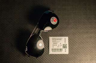 Rayban Aviator Black Lens Green Polarized 58