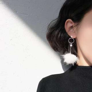 Buy 3 get 1 free💋 Start decorate with plume Earrings S925 sliver anti-allergy  💋純銀羽毛星星圆圈耳環 防敏感
