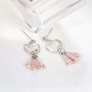 Buy 3 get 1 free💋 Pink Heart Shaped Earrings S925 sliver anti-allergy  💋純銀粉色心型耳環 防敏感