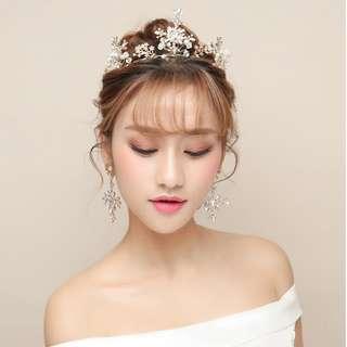 (特價次品)新娘結婚頭飾 日韓水晶串珠皇冠連耳環