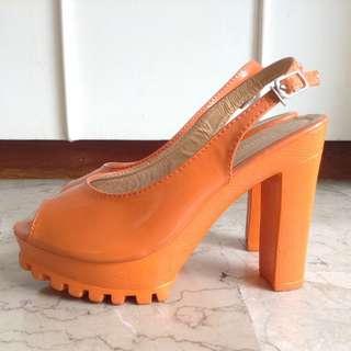 Orange High Heels Shoes